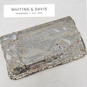 WHITING & DAVIS Silver Chain Mesh Wristlet Bag